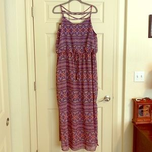 NWOT Red and Blue Maxi Dress Size 1X